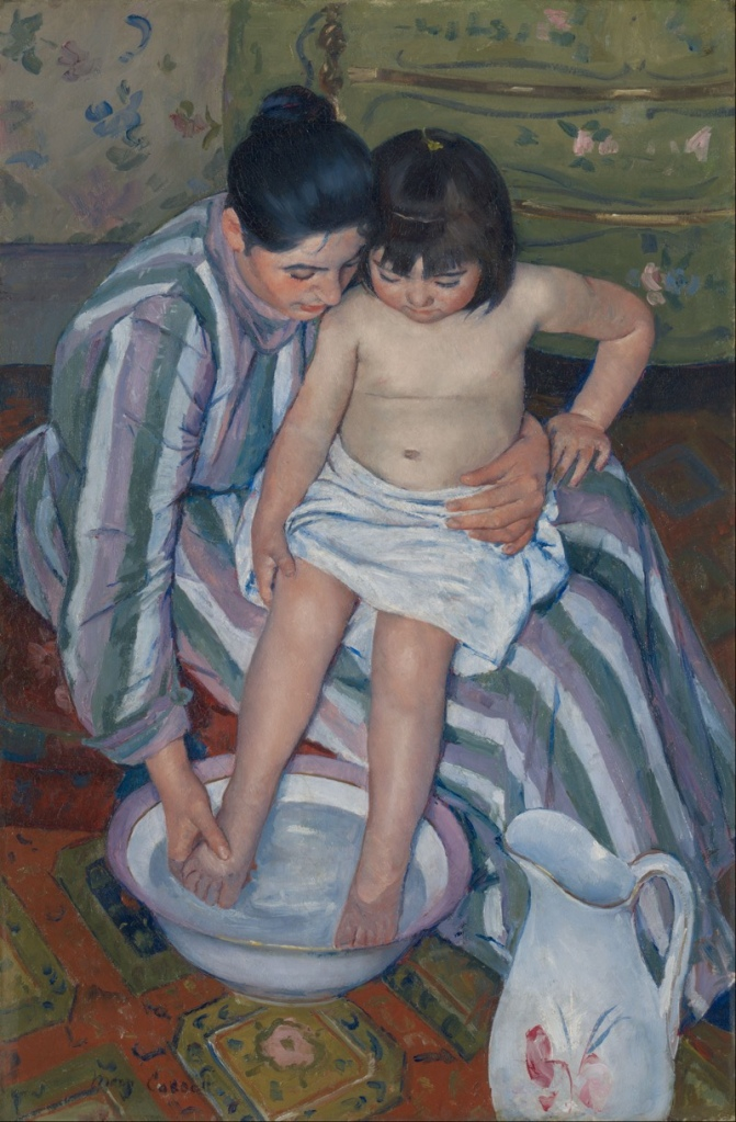 Mother bathing child art